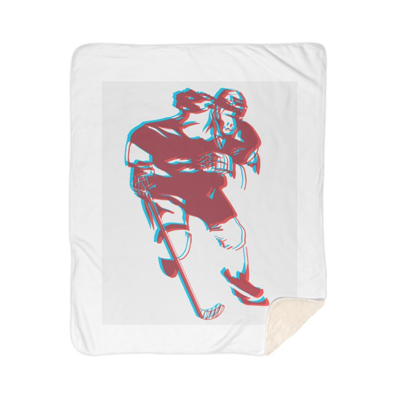Black Girl Hockey Player with Natural Hair Home Blanket by Black Girl Hockey Club's Artist Shop
