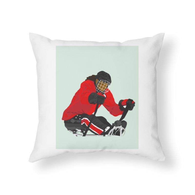 Black Girl Sled Hockey Player Home Throw Pillow by Black Girl Hockey Club's Artist Shop