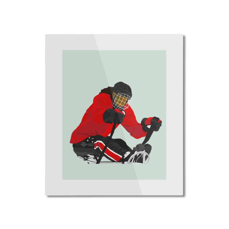 Black Girl Sled Hockey Player Home Mounted Aluminum Print by Black Girl Hockey Club's Artist Shop