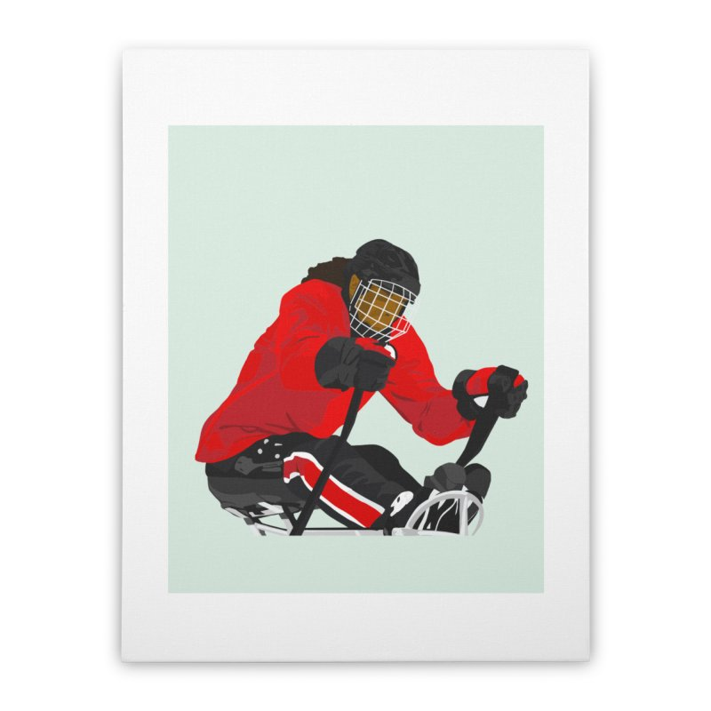 Black Girl Sled Hockey Player Home Stretched Canvas by Black Girl Hockey Club's Artist Shop