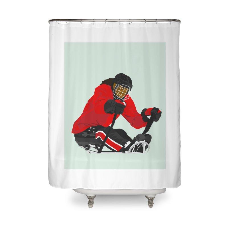Black Girl Sled Hockey Player Home Shower Curtain by Black Girl Hockey Club's Artist Shop