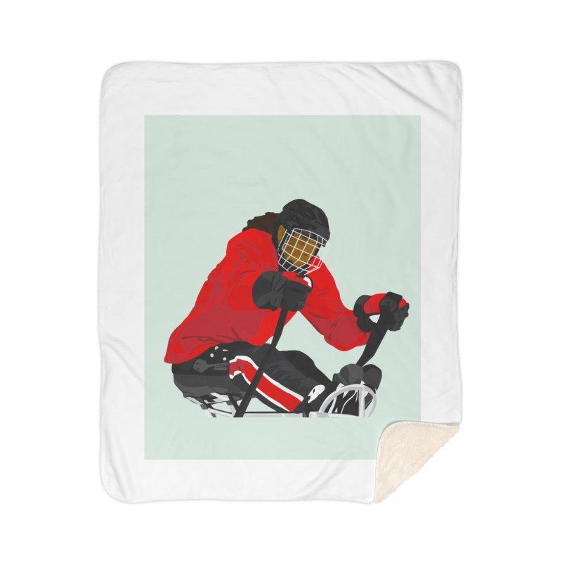 Black Girl Sled Hockey Player Home Blanket by Black Girl Hockey Club's Artist Shop