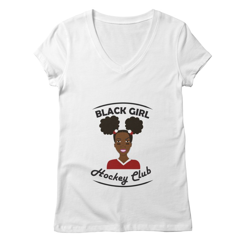 BGHC red/white Women's Regular V-Neck by Black Girl Hockey Club's Artist Shop
