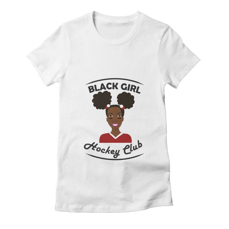 BGHC red/white Women's Fitted T-Shirt by Black Girl Hockey Club's Artist Shop