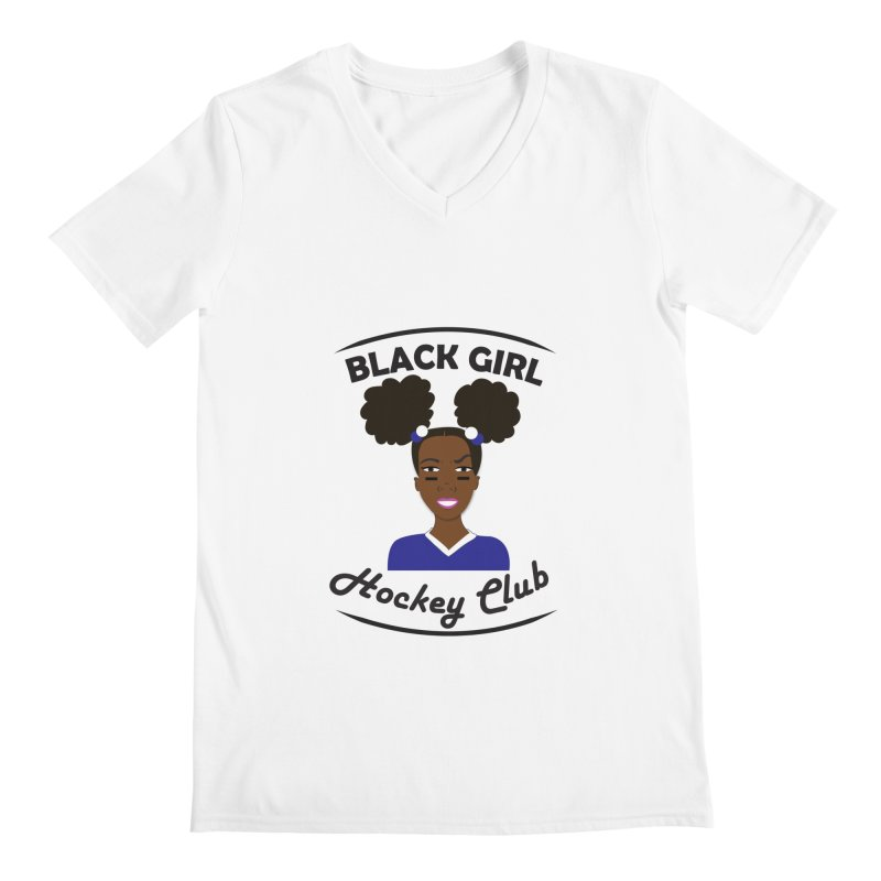 BGHC blue/white Men's V-Neck by Black Girl Hockey Club's Artist Shop