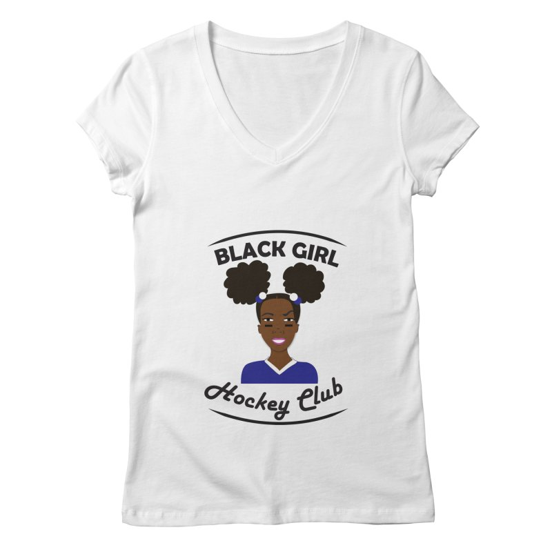BGHC blue/white Women's Regular V-Neck by Black Girl Hockey Club's Artist Shop