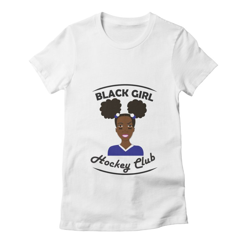 BGHC blue/white Women's Fitted T-Shirt by Black Girl Hockey Club's Artist Shop