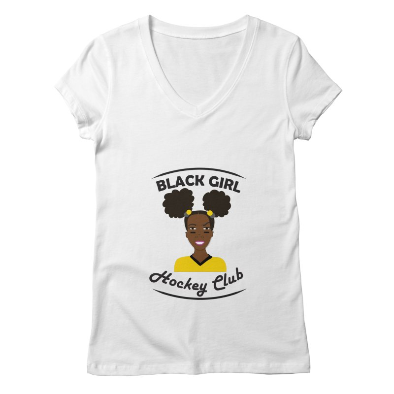 BGHC black/gold Women's Regular V-Neck by Black Girl Hockey Club's Artist Shop