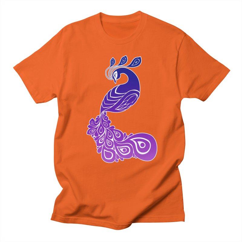 Peacock Design Women's Regular Unisex T-Shirt by Black and White Shop