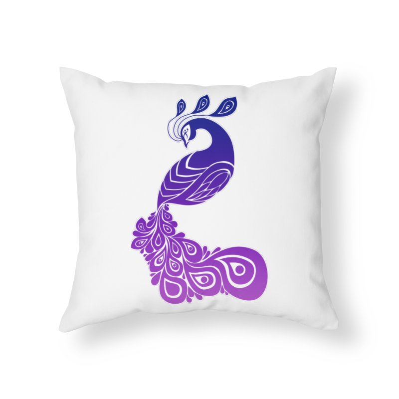 Peacock Design Home Throw Pillow by Black and White Shop