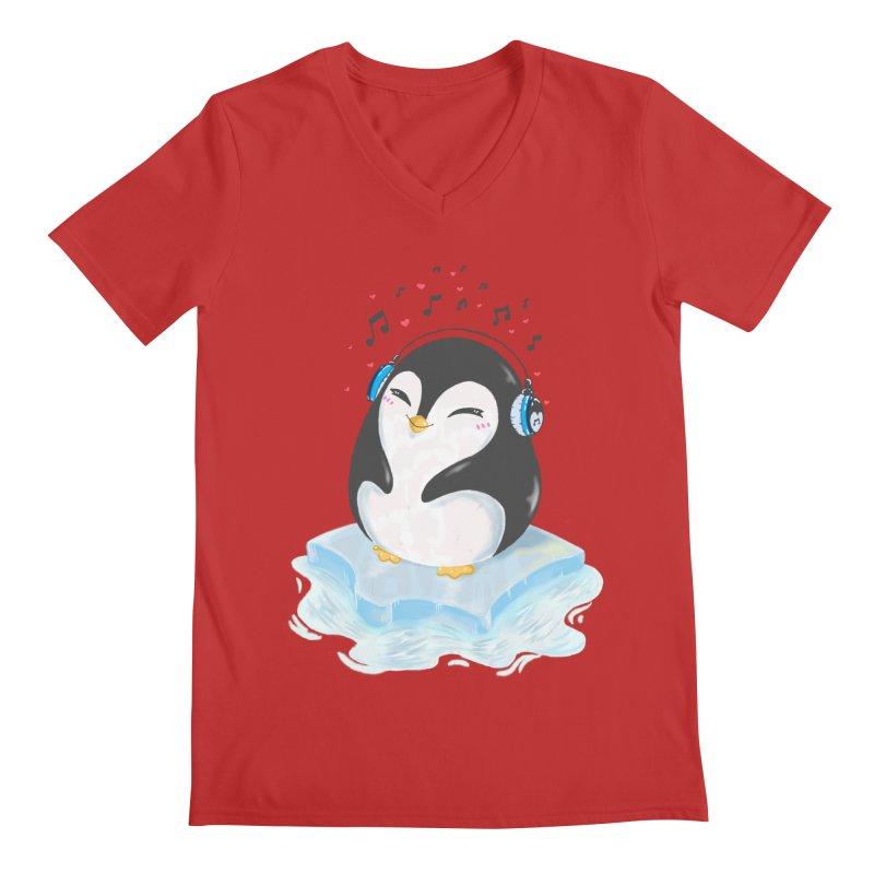 Penguin Men's Regular V-Neck by Black and White Shop
