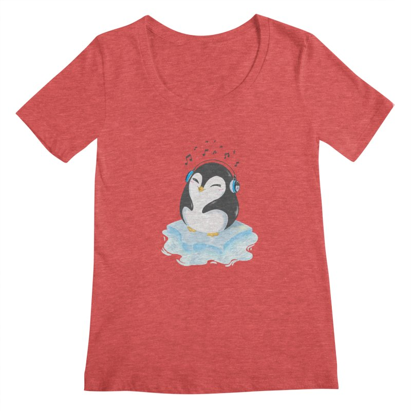 Penguin Women's Scoopneck by Black and White Shop
