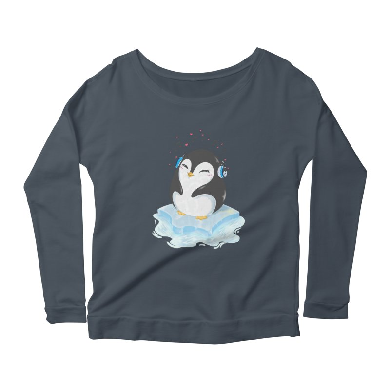 Penguin Women's Scoop Neck Longsleeve T-Shirt by Black and White Shop