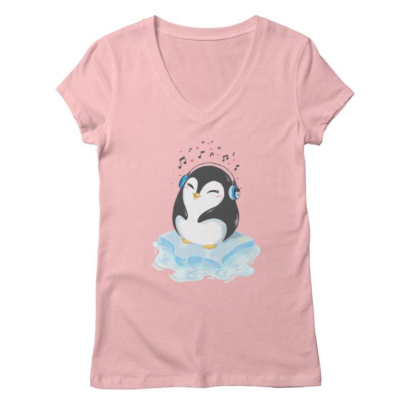 Penguin Women's Regular V-Neck by Black and White Shop