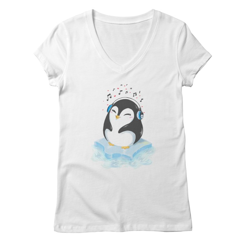 Penguin Women's V-Neck by Black and White Shop