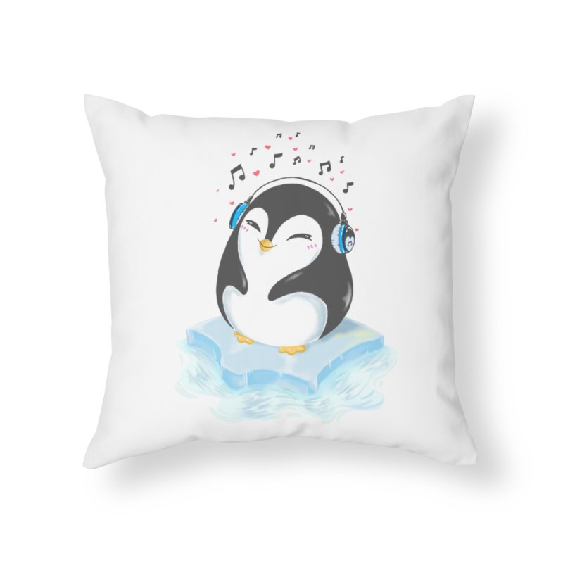 Penguin Home Throw Pillow by Black and White Shop