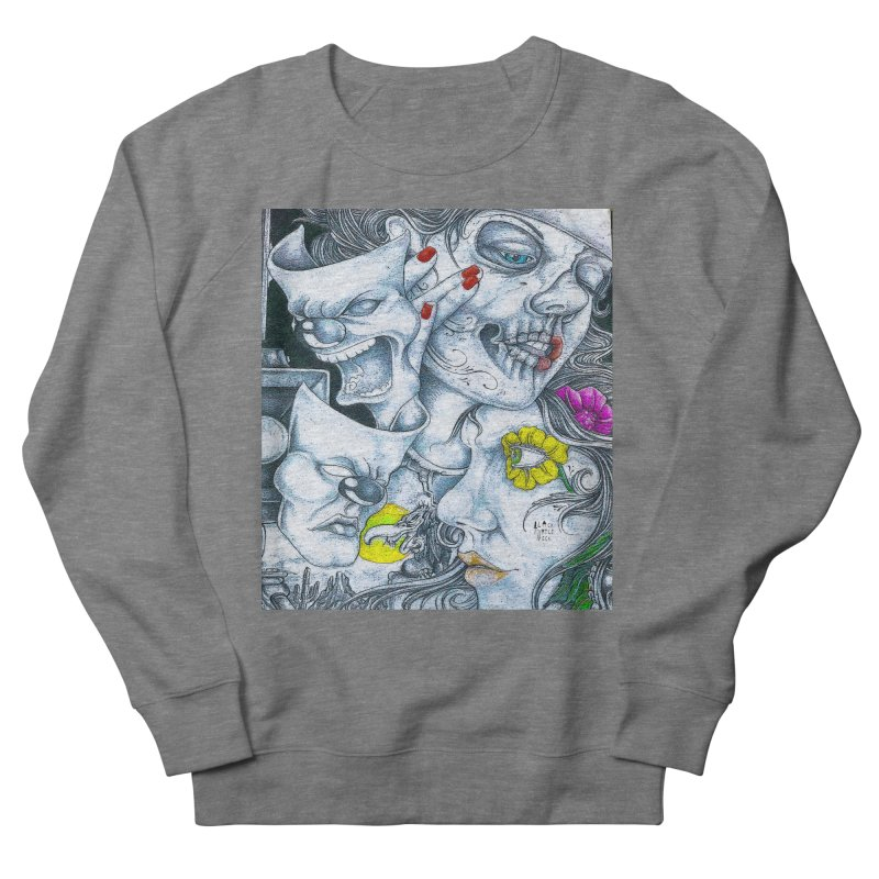 Faces Men's French Terry Sweatshirt by BLACK TVRTLE NECK