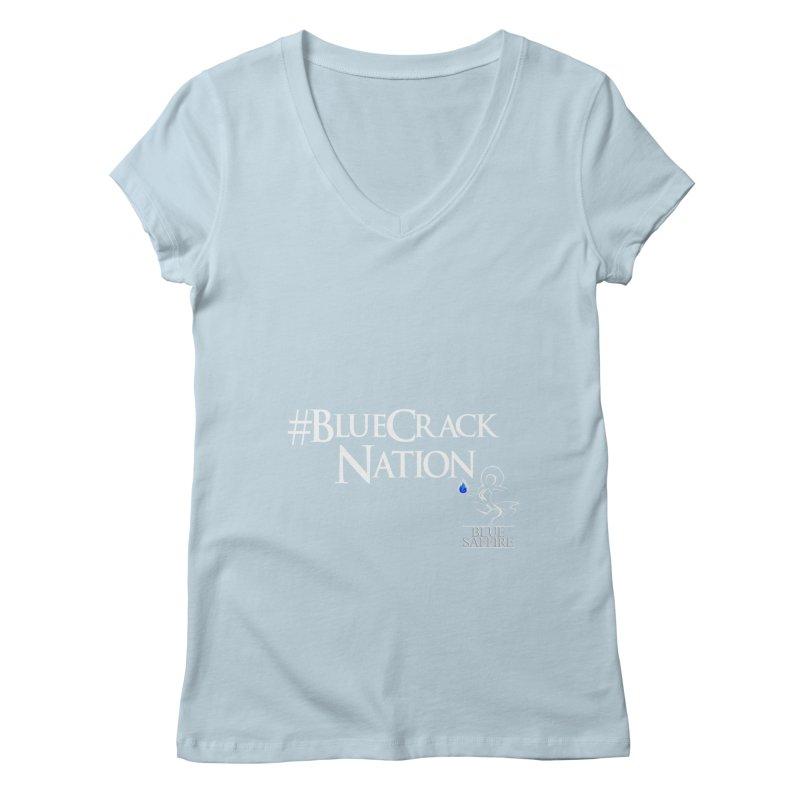 Blue Crack Nation Women's Regular V-Neck by Blue Saffire's Artist Shop