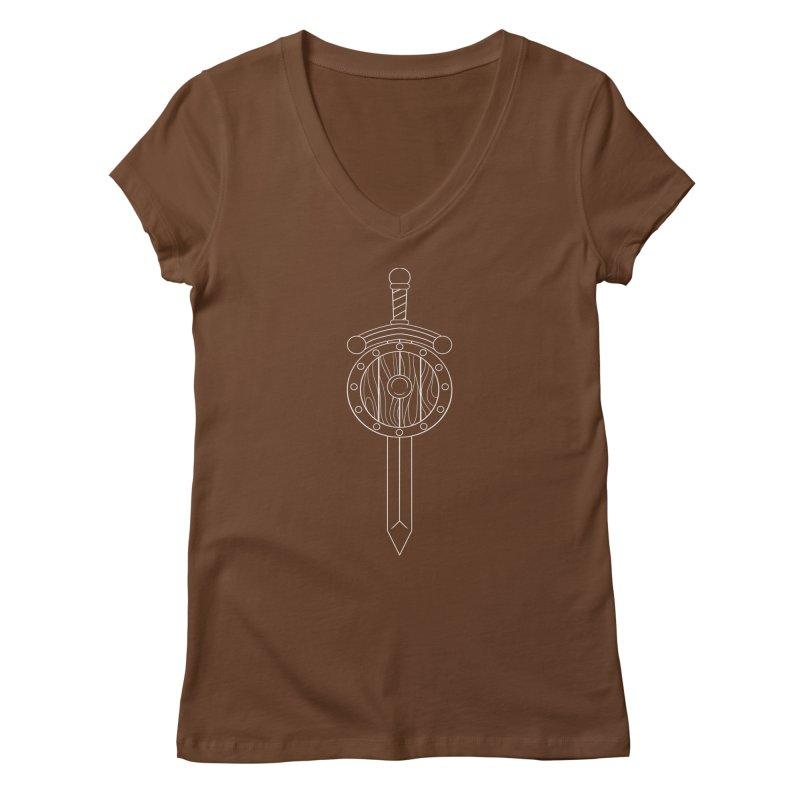Sword and Board Women's V-Neck by Bluefeatherkitten's Artist Shop