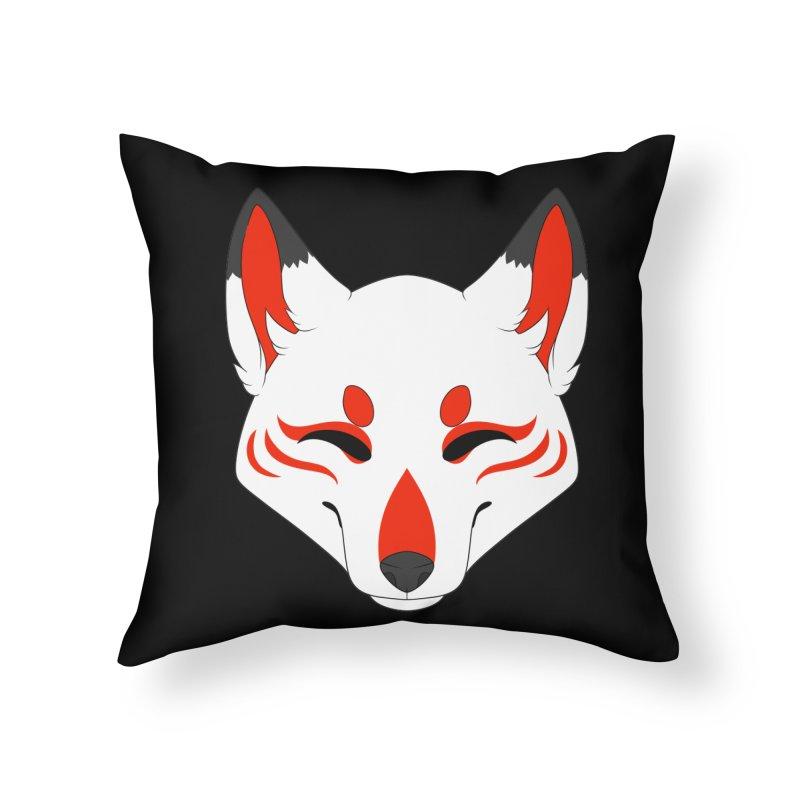 Kitsune (Red) Home Throw Pillow by Bluefeatherkitten's Artist Shop