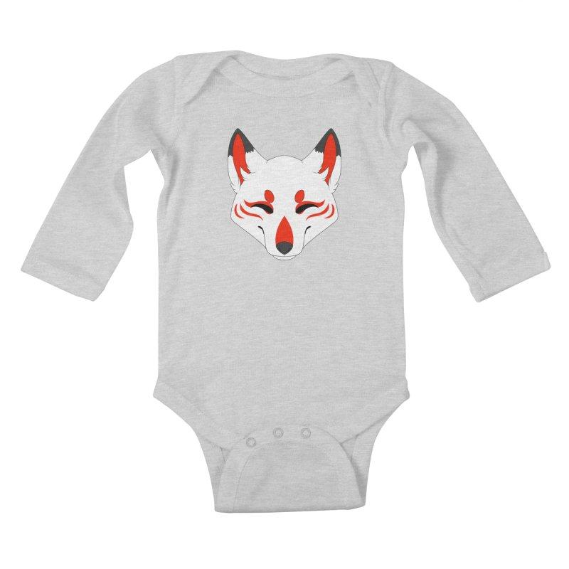 Kitsune (Red) Kids Baby Longsleeve Bodysuit by Bluefeatherkitten's Artist Shop