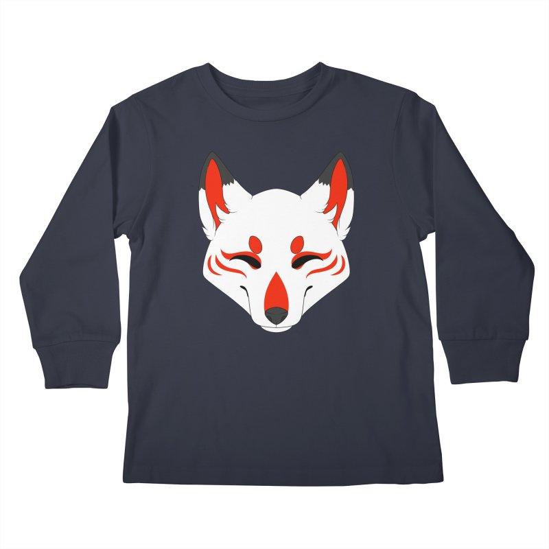 Kitsune (Red) Kids Longsleeve T-Shirt by Bluefeatherkitten's Artist Shop