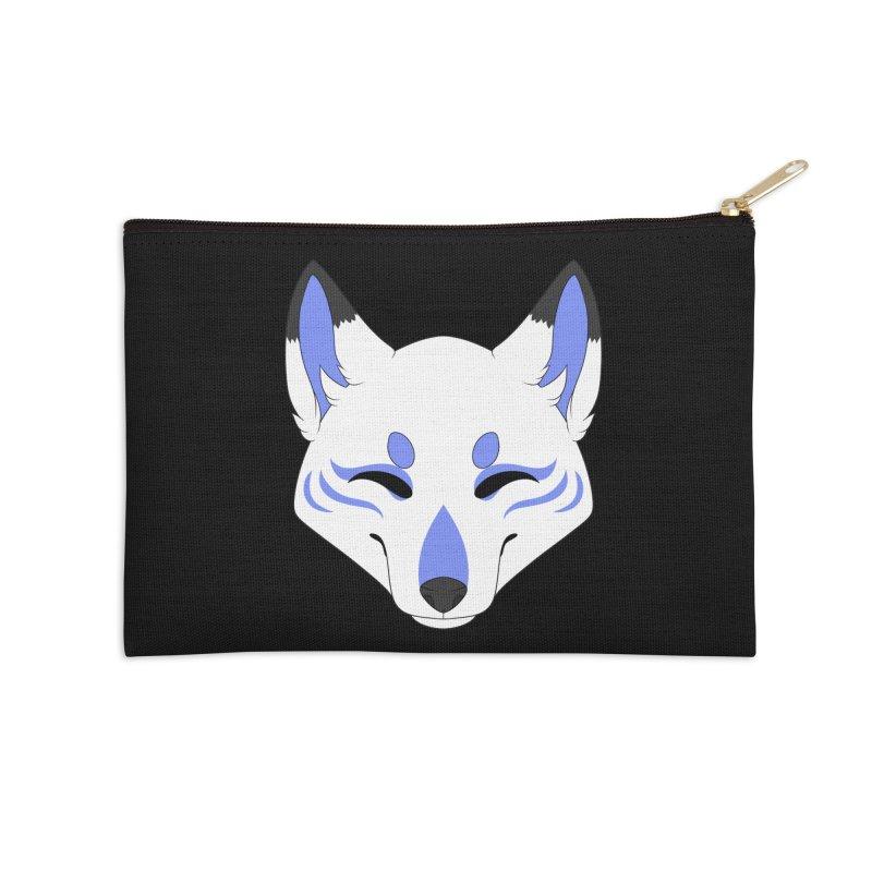 Kitsune (Blue) Accessories Zip Pouch by Bluefeatherkitten's Artist Shop