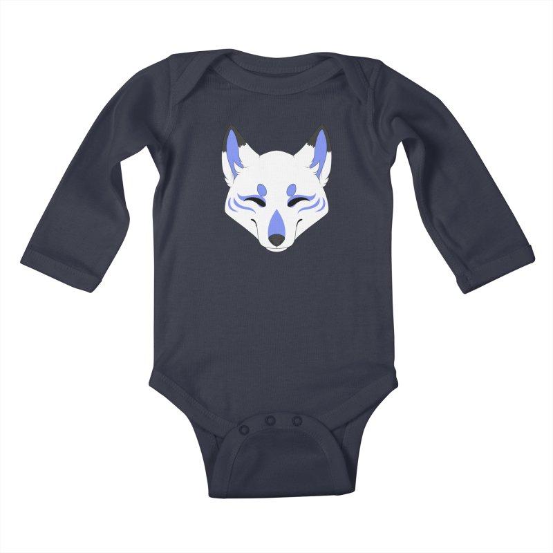Kitsune (Blue) Kids Baby Longsleeve Bodysuit by Bluefeatherkitten's Artist Shop