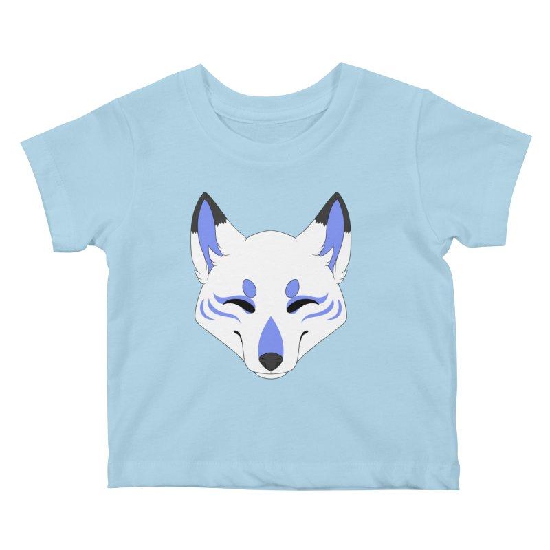 Kitsune (Blue) Kids Baby T-Shirt by Bluefeatherkitten's Artist Shop