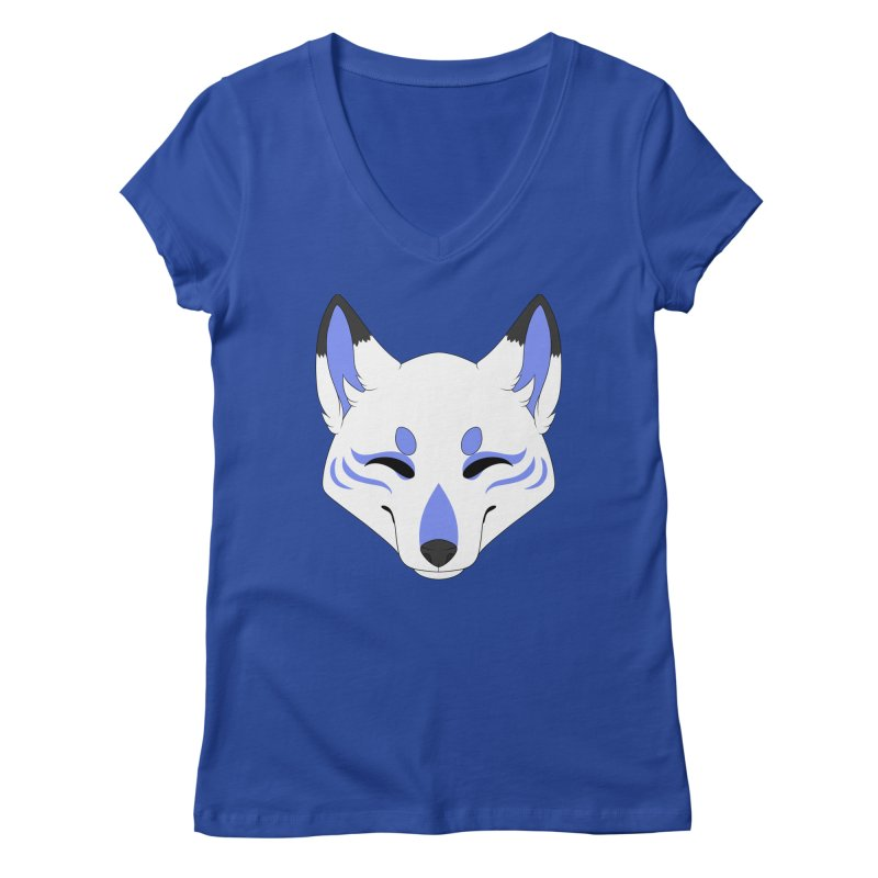 Kitsune (Blue) Women's V-Neck by Bluefeatherkitten's Artist Shop