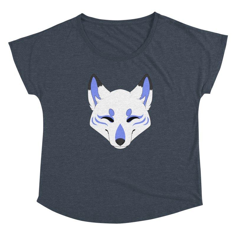 Kitsune (Blue) Women's Scoop Neck by Bluefeatherkitten's Artist Shop