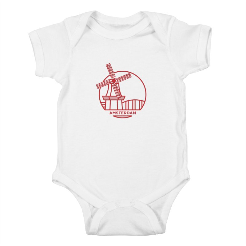 Amsterdam Mill Kids Baby Bodysuit by BMaw's Artist Shop