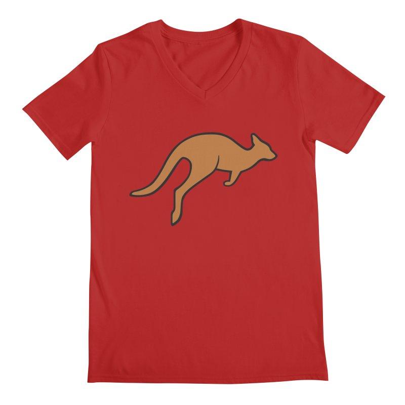 Jumping Kangaroo Men's V-Neck by BMaw's Artist Shop