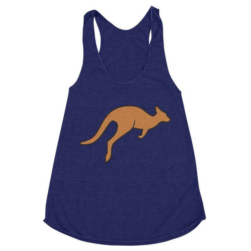 Jumping Kangaroo Women's Racerback Triblend Tank by BMaw's Artist Shop