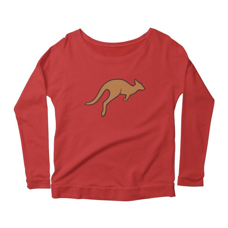 Jumping Kangaroo Women's Longsleeve Scoopneck  by BMaw's Artist Shop