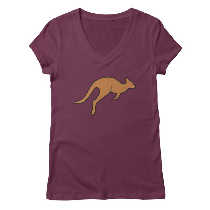 Jumping Kangaroo Women's Regular V-Neck by BMaw's Artist Shop