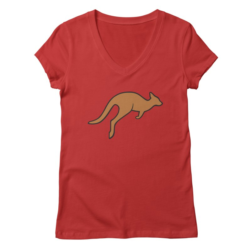 Jumping Kangaroo Women's V-Neck by BMaw's Artist Shop
