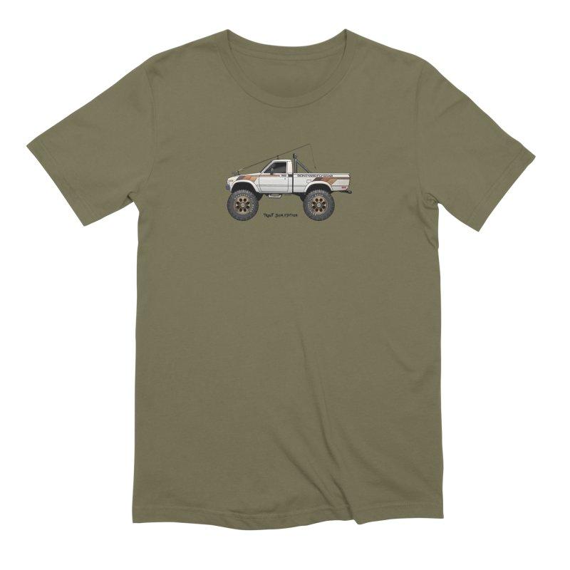 80's Toyota SR5 Adventure Rig in Men's Extra Soft T-Shirt Olive by Boneyard Studio - Boneyard Fly Gear