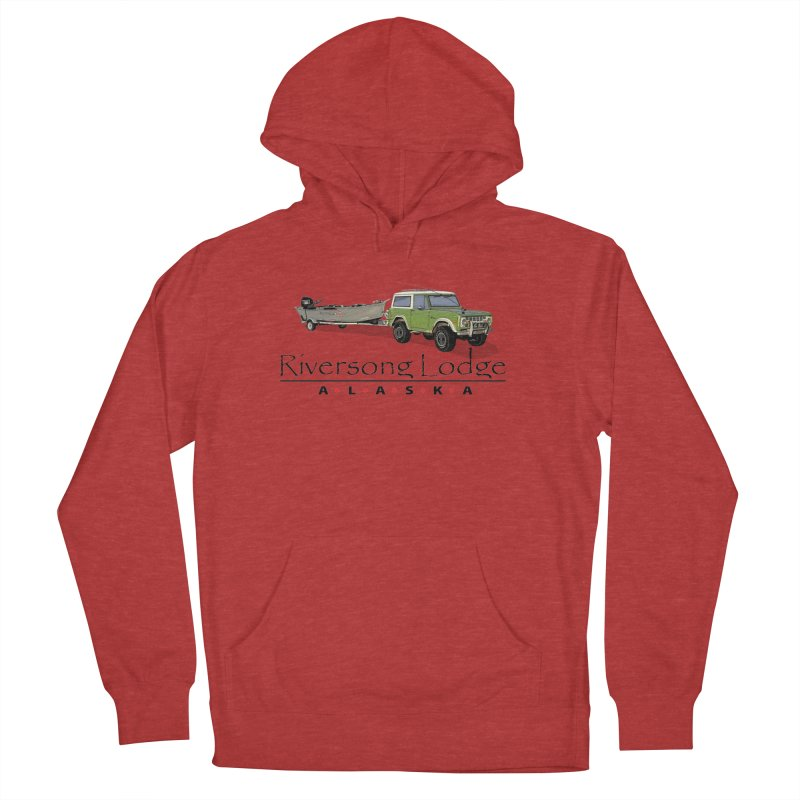 Riversong Lodge Adventure Rig (Black lettering) Men's French Terry Pullover Hoody by Boneyard Studio - Boneyard Fly Gear