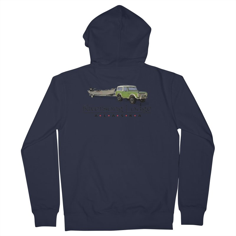 Riversong Lodge Adventure Rig (Black lettering) Men's French Terry Zip-Up Hoody by Boneyard Studio - Boneyard Fly Gear