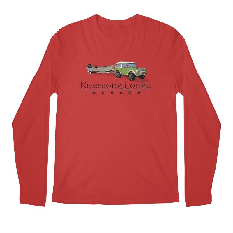 Riversong Lodge Adventure Rig (Black lettering) Men's Regular Longsleeve T-Shirt by Boneyard Studio - Boneyard Fly Gear