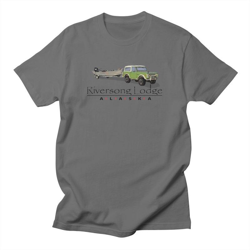 Riversong Lodge Adventure Rig (Black lettering) Men's T-Shirt by Boneyard Studio - Boneyard Fly Gear