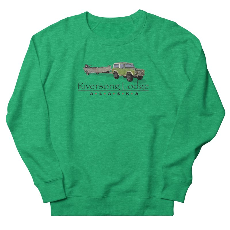 Riversong Lodge Adventure Rig (Black lettering) Men's French Terry Sweatshirt by Boneyard Studio - Boneyard Fly Gear