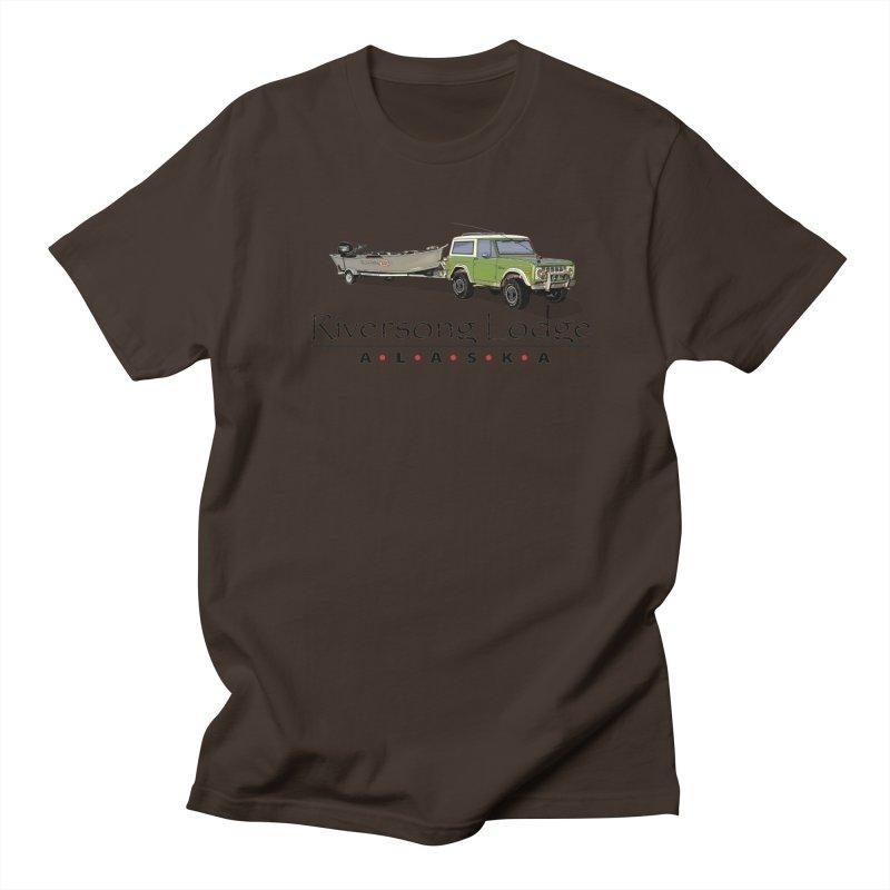 Riversong Lodge Adventure Rig (Black lettering) Men's Regular T-Shirt by Boneyard Studio - Boneyard Fly Gear