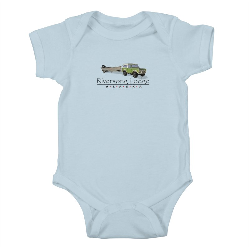 Riversong Lodge Adventure Rig (Black lettering) Kids Baby Bodysuit by Boneyard Studio - Boneyard Fly Gear