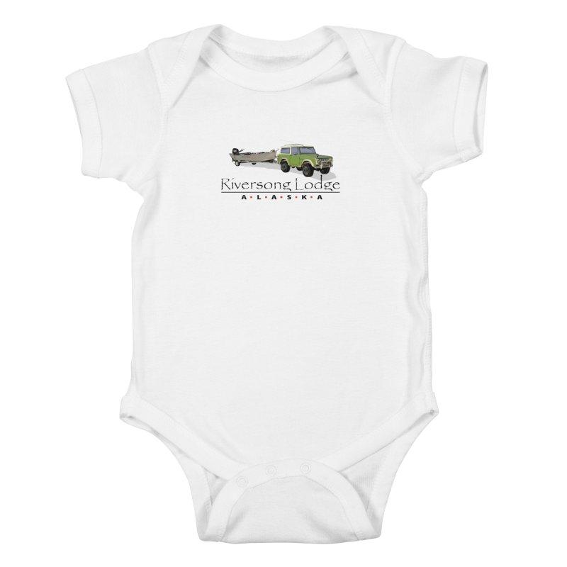 Riversong Lodge Adventure Rig (Black lettering) Kids Baby Bodysuit by Boneyard Studio - Boneyard Fly Gear