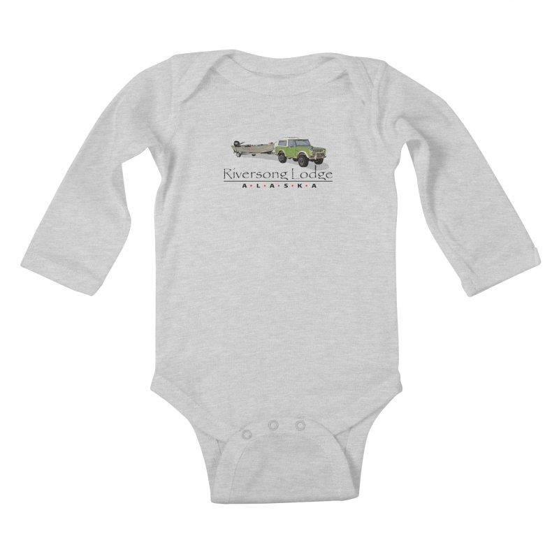 Riversong Lodge Adventure Rig (Black lettering) Kids Baby Longsleeve Bodysuit by Boneyard Studio - Boneyard Fly Gear