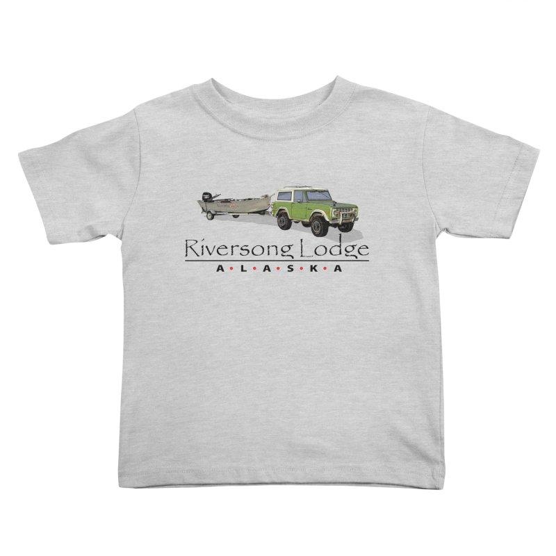 Riversong Lodge Adventure Rig (Black lettering) Kids Toddler T-Shirt by Boneyard Studio - Boneyard Fly Gear