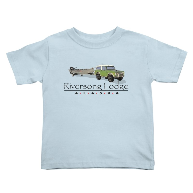 Riversong Lodge Adventure Rig (Black lettering) Kids Toddler T-Shirt by Boneyard Studio - Boneyard Fly Gear