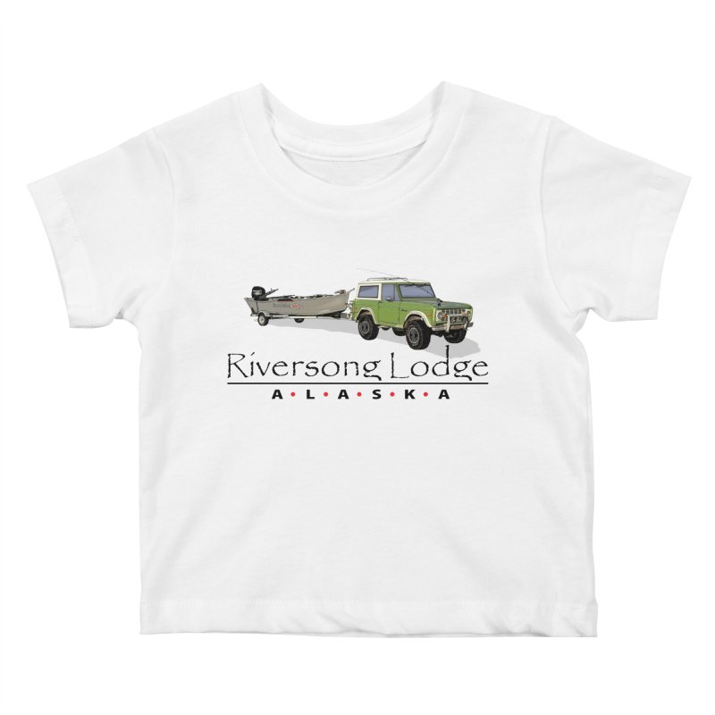 Riversong Lodge Adventure Rig (Black lettering) Kids Baby T-Shirt by Boneyard Studio - Boneyard Fly Gear